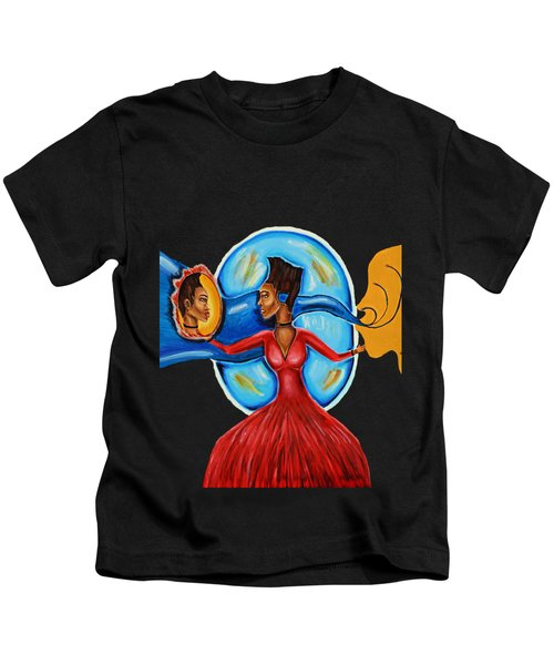 African Goddess Lady In Red Afrocentric Art Mother Earth Black Woman Art Kids T-Shirt