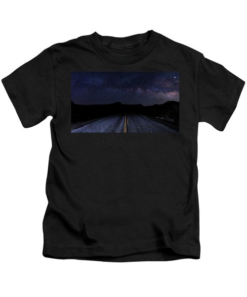 lonely Desert Road on a Starry Desert Night  Kids T-Shirt