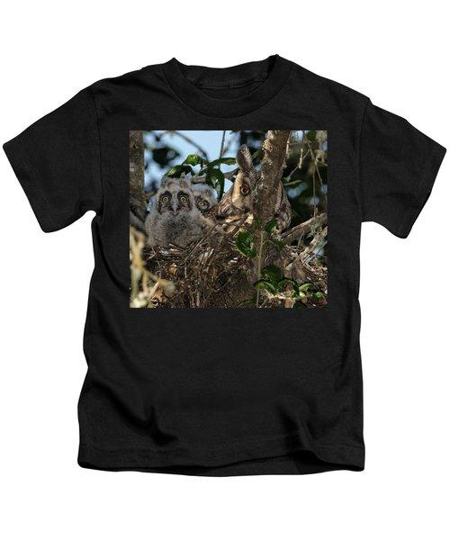 Long-eared Owl And Owlets Kids T-Shirt