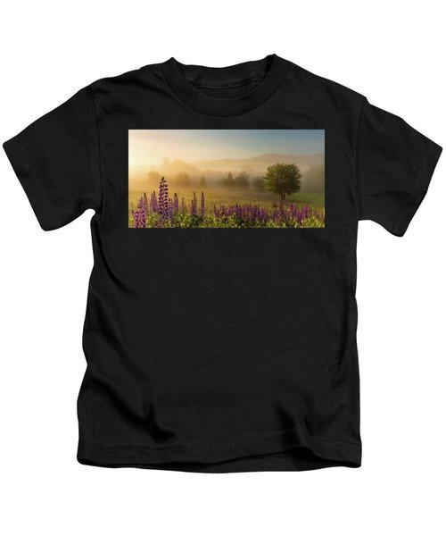 Lupine In The Fog, Sugar Hill, Nh Kids T-Shirt