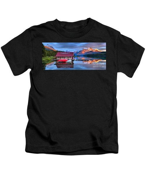 Maligne Lake Sunset Spectacular Kids T-Shirt