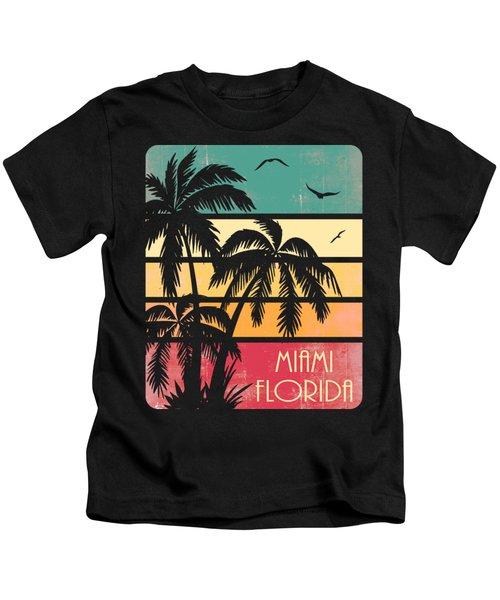 Miami Florida Vintage Summer Kids T-Shirt