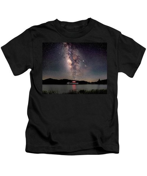 Milky Way Over The Tianping Mountain Lake Temple Kids T-Shirt