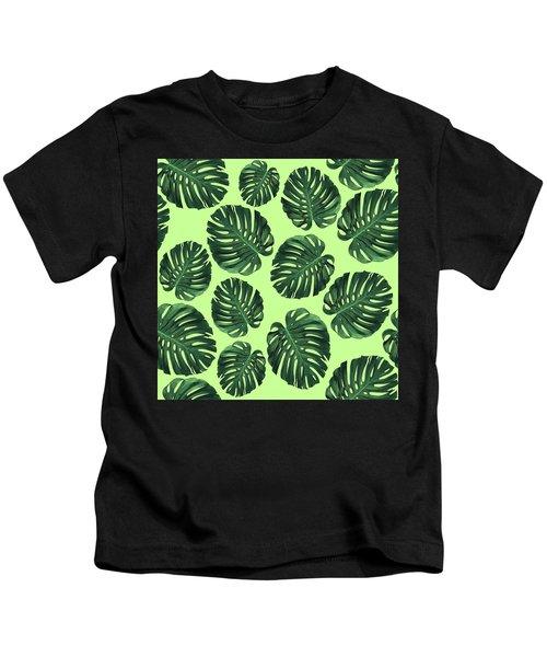 Monstera Leaf Pattern - Tropical Leaf Pattern - Green - Tropical, Botanical - Modern, Minimal Design Kids T-Shirt