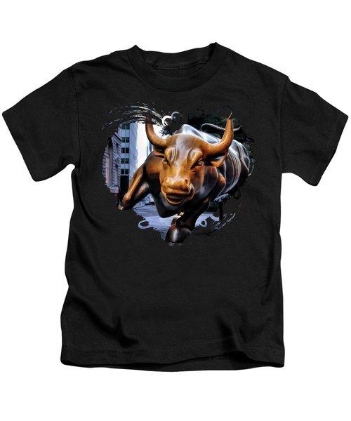 New York City Wall Street Charging Bull Kids T-Shirt