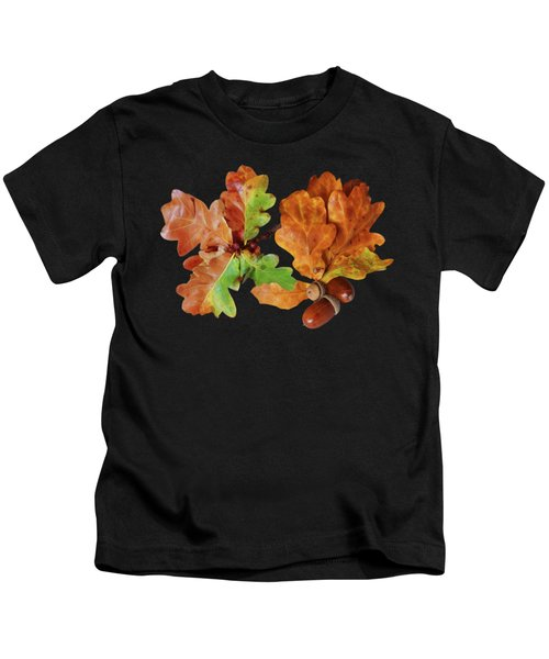 Oak Leaves And Acorns On Black Kids T-Shirt