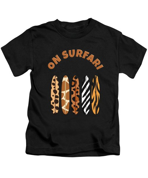 On Surfari Animal Print Surfboards  Kids T-Shirt