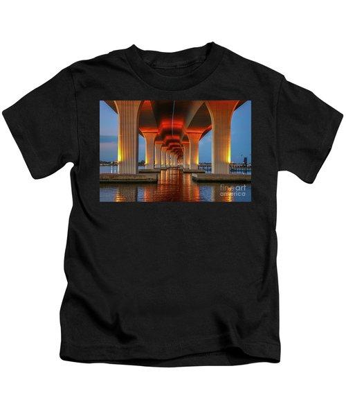 Orange Light Bridge Reflection Kids T-Shirt