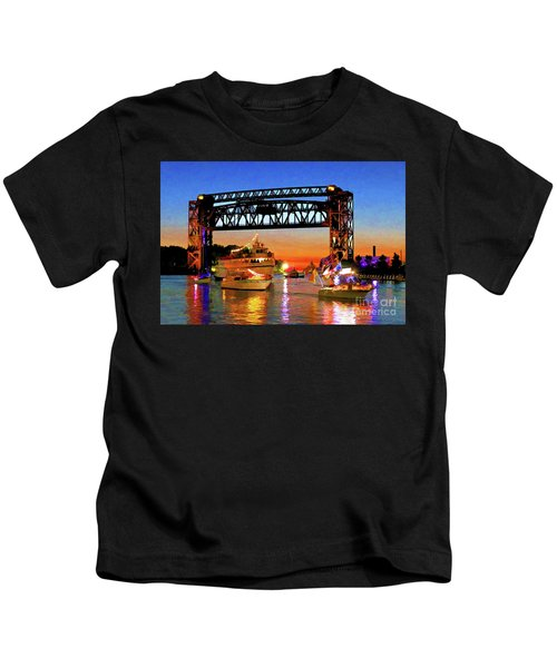 Parade Of Lighted Boats Kids T-Shirt