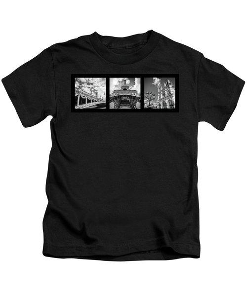 Paris Landmarks Triptych Kids T-Shirt