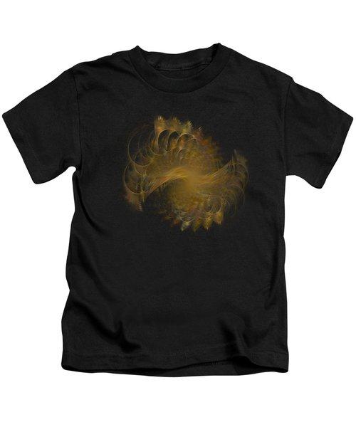 Peacock Fractal Gold Transparent Kids T-Shirt