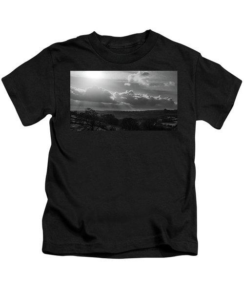 Peak District From Black Rocks In Monochrome Kids T-Shirt