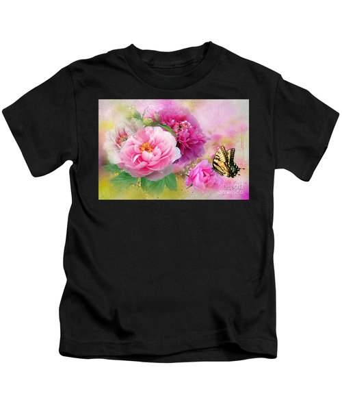 Peonies And Butterfly Kids T-Shirt