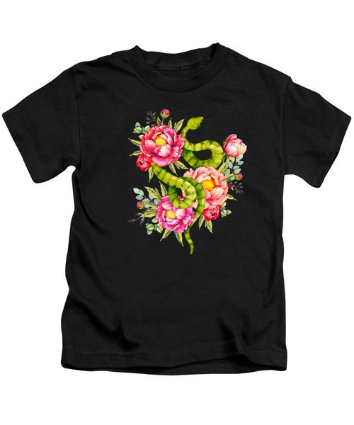 Peony Blossoms Buds And A Green Garden Snake Kids T-Shirt