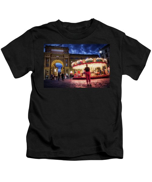 Piazza Della Reppublica At Night In Firenze With Painterly Effects Kids T-Shirt
