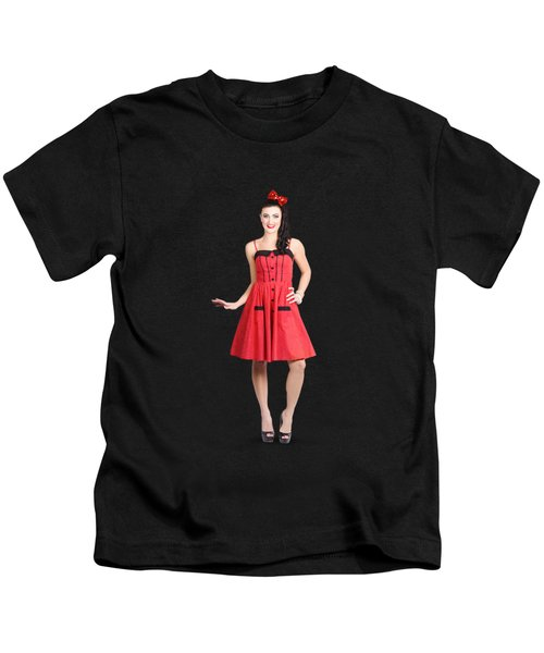 Pin-up Girl In Full Portrait With Beautiful Figure Kids T-Shirt