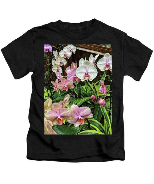 Pink And  White Orchids Kids T-Shirt