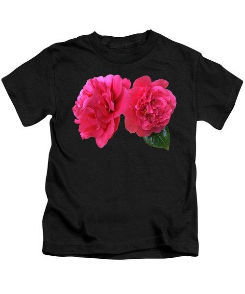 Pink Camellia On Black Kids T-Shirt