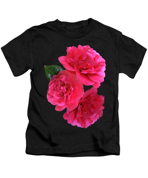 Pink Camellia On Black Vertical Kids T-Shirt