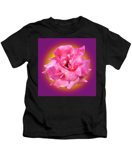 Pink Rose With Background Kids T-Shirt