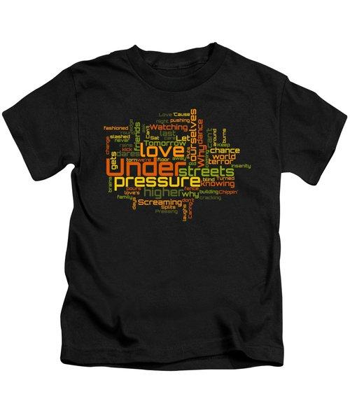 Queen And David Bowie - Under Pressure Lyrical Cloud Kids T-Shirt