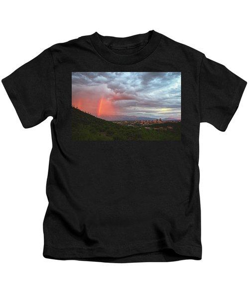 Rainbow Over Tucson Skyline Kids T-Shirt