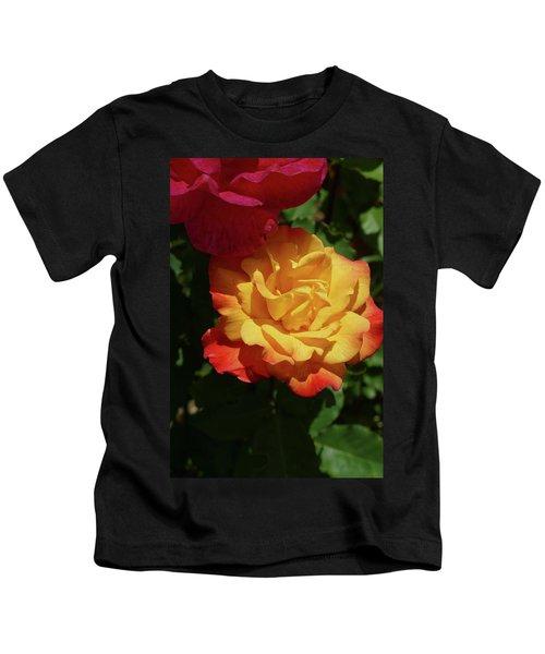 Red And Yellow Rio Samba Roses Kids T-Shirt