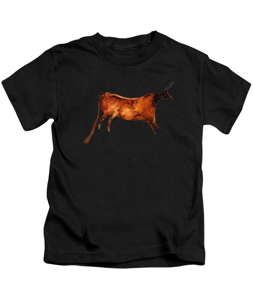 Red Cow In Beige Kids T-Shirt