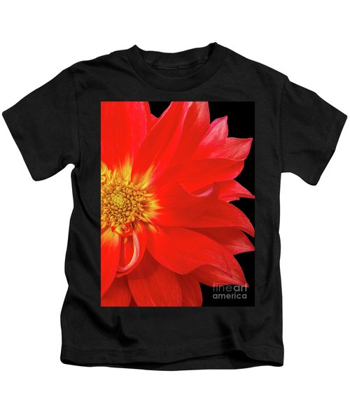 Red Dahlia On Black Background Kids T-Shirt