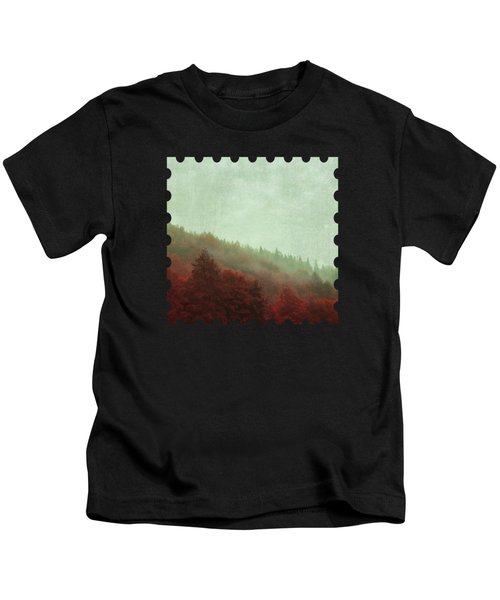 Retro Red Forest In Fog Kids T-Shirt