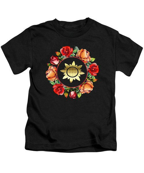 Ring Wreath Of Red Roses And Gold Crest Kids T-Shirt