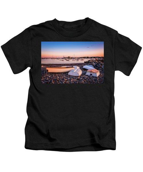 Rowboats At Rye Harbor, Sunset Kids T-Shirt