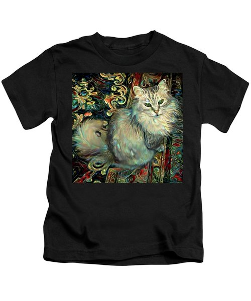 Samson The Silver Maine Coon Cat Kids T-Shirt