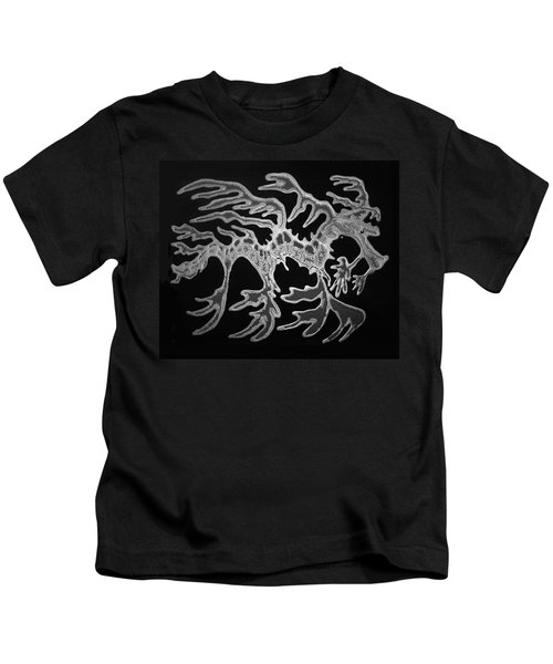 Sea Dragon Black And White Kids T-Shirt