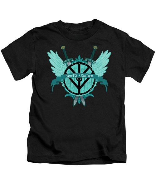 Shield Maiden Badass Warrior Woman Winged Teal Viking Shield  Kids T-Shirt