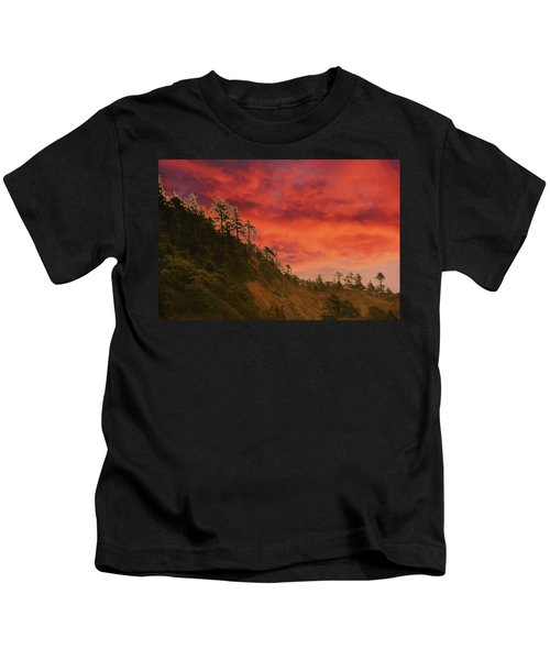 Silhouette Of Conifer Against  Seacoast  Kids T-Shirt