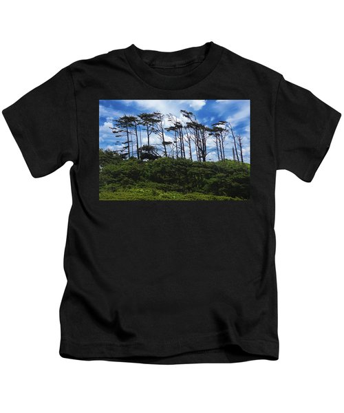 Silhouettes Of Wind Sculpted Krumholz Trees  Kids T-Shirt