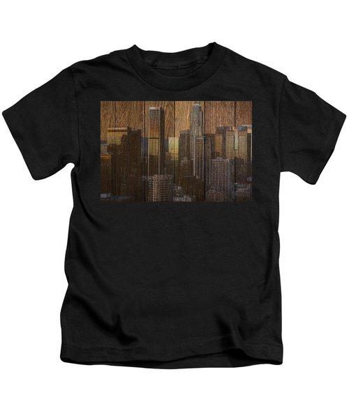 Skyline Of Los Angeles, Usa On Wood Kids T-Shirt