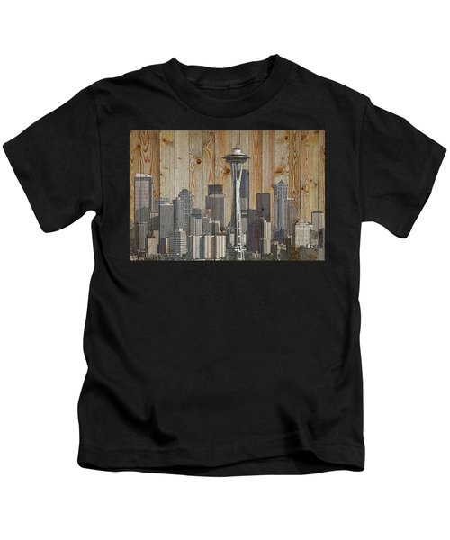 Skyline Of Seattle, Usa On Wood Kids T-Shirt
