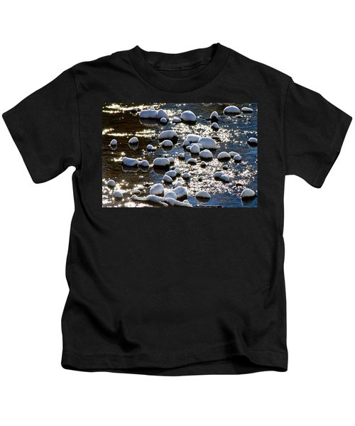 Snow Covered Rocks Kids T-Shirt