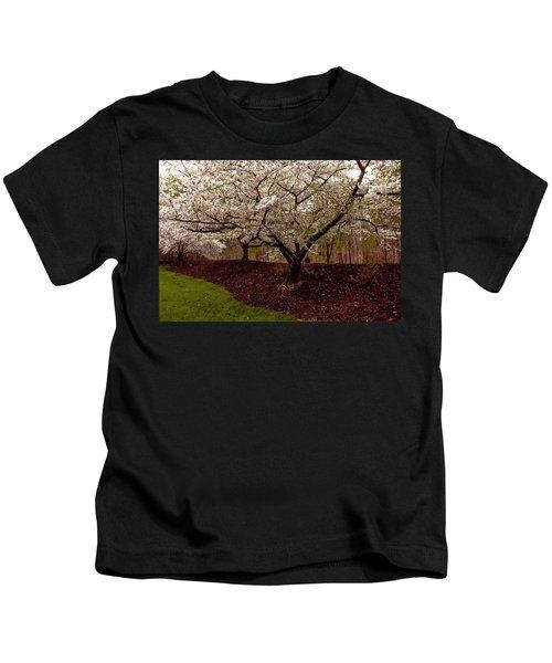 Snowy Cherry Blossoms Kids T-Shirt