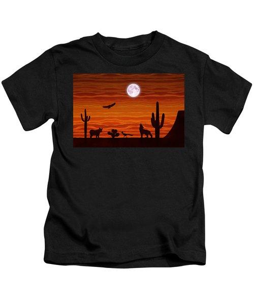 Southwest Desert Silhouette Kids T-Shirt