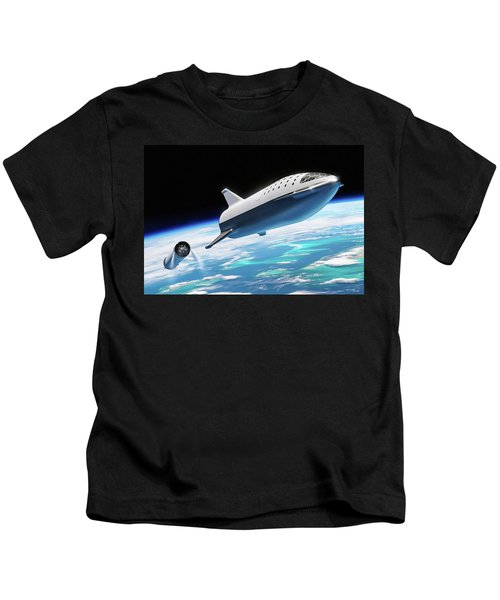 Spacex Bfr Big Falcon Rocket With Earth Kids T-Shirt