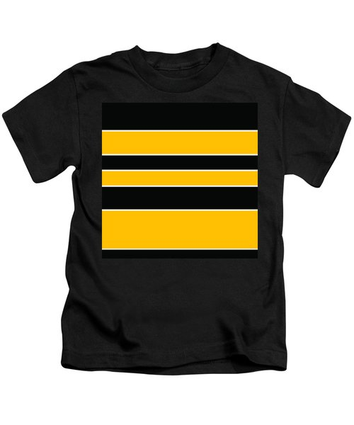 Stacked - Black And Yellow Kids T-Shirt