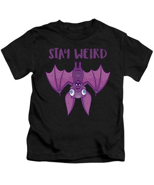 Stay Weird Cartoon Bat Kids T-Shirt