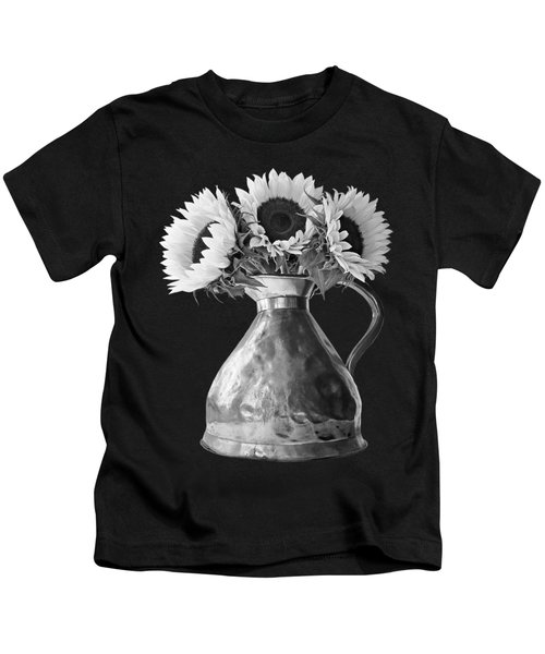 Sunflowers In Copper Pitcher In Mono Kids T-Shirt