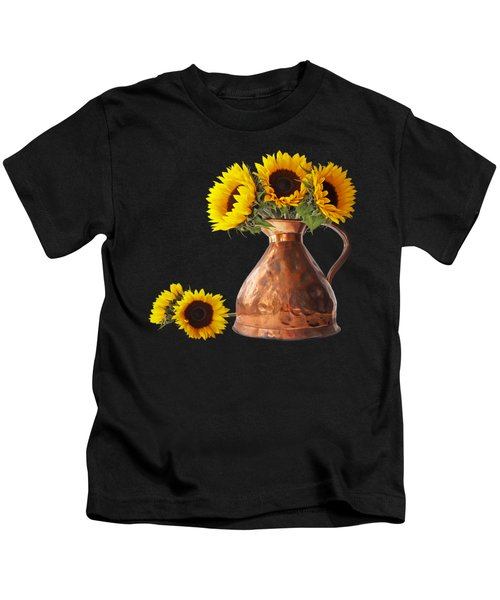 Sunflowers In Copper Pitcher On Black Square Kids T-Shirt