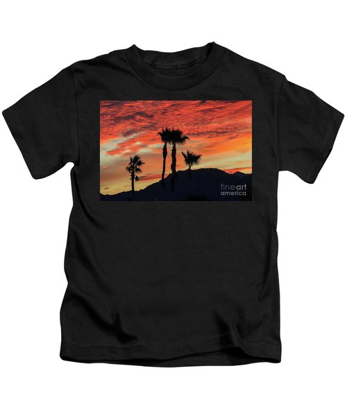 Sunrise With Silhouetted Palm Trees Kids T-Shirt