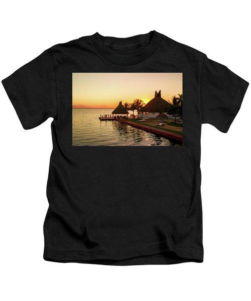 Sunset In Cancun Kids T-Shirt