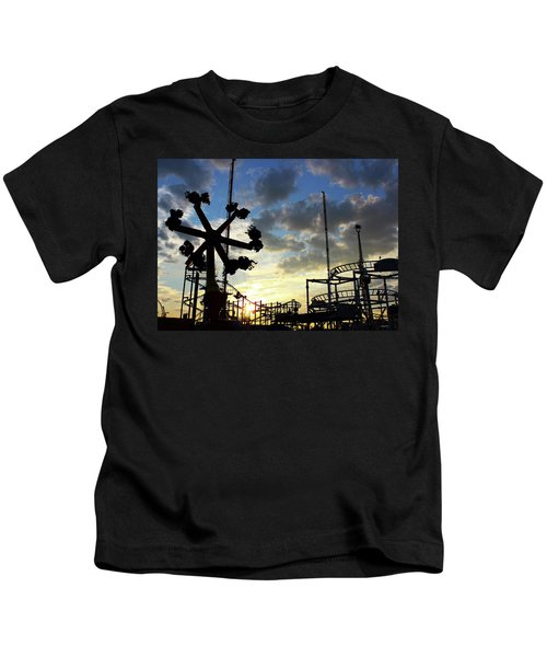 Sunset On Coney Island Kids T-Shirt